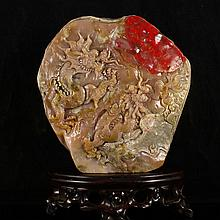 Beautiful Hand Carved Chinese Natural Chicken Blood Stone Statue w Double Dragons