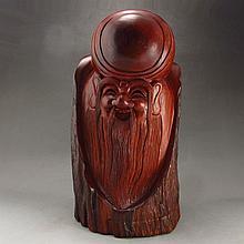 Superb Hand Carved Chinese Natural Hua Li Wood Statue - Longevity Taoism Deity