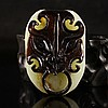 Hand Carved Chinese Natural Hetian Jade Beast Head Pendant