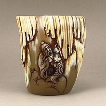 Hand Carved Chinese Ox Horn Sacrifice Cup w Fisherman