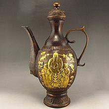 Hand Carved Chinese Bronze Wine Pot w Fukurokuju & Xuande Mark