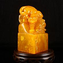 Hand Carved Chinese Natural Shoushan Stone Seal w Tiger