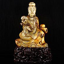 Hand Carved Chinese Natural Hetian Jade Statue - Kwan-yin