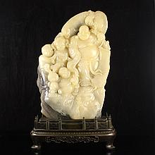Superb Hand Carved Chinese Natural Shoushan Stone Statue - Laughing Buddha & Fortune Kids