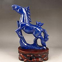 Hand Carved Chinese Natural Lapis Lazuli Statue - Fortune Horse