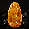 Fine Hand Carved Chinese Natural Jade Pendant w Kwan-yin
