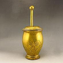 Chinese Brass Medicine Pounding Tank Carved Doctor & Poetry