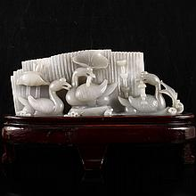 Hand Carved Chinese Natural Hetian Jade Statue w Goose & Lotus