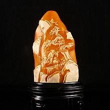 Hand Carved Chinese Natural Shoushan Stone Statue w Sages & Pine Tree