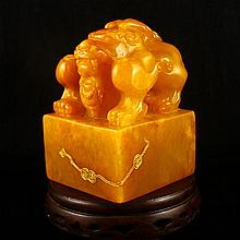 Hand Carved Chinese Natural Shoushan Stone Seal w Fortune Beast