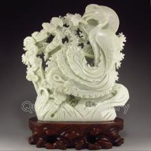 Hand-carved Chinese Natural Jade Statue - Phoenix & Bat