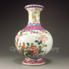 Hand-painted Chinese Famille Rose Porcelain Vase w Magpie Peony & Yong Zheng Mark