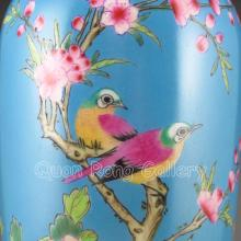 Hand-painted Chinese Blue Ground Famille Rose Porcelain Vase w Yong Zheng Mark