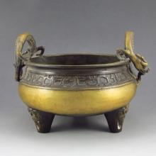 Chinese Bronze Double Dragon Incense Burner w Marker