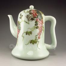 Hand-painted Chinese Famille Rose Porcelain Teapot w Magpie & Grapes