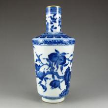 Hand-painted Chinese Gilt Edge Blue And White Porcelain Vase w Qianlong Mark
