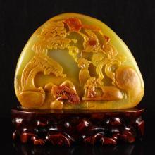 Beautiful Hand-carved Chinese Natural Jade Statue - Sage,Crane & Pine Tree