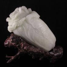 Hand Carved Chinese Natural Shoushan Stone Statue - Fortune Cabbage