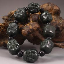 Hand Carved Chinese Deep Green Hetian Jade Buddha Head Bracelet