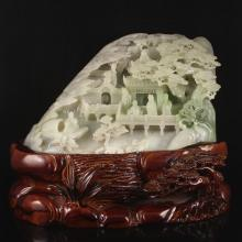 Superb Hand Carved Chinese Natural Hetian Jade Statue - Sages Meeting