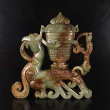 Old Hand Carved Natural Hetian Jade Statue - Fortune Beast