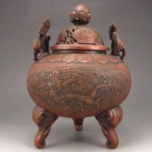 Chinese Red Copper Incense Burner w Foo Dog