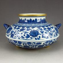 Chinese Gilt Edges Blue And White Porcelain Incense Burner w Qianlong Mark