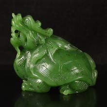 Hand Carved Chinese Natural Green Hetian Jade Statue - Dragon Turtle