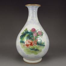 A Fine Chinese Purple Glaze Gilt Edge Famille Rose Porcelain Vase w Yong Zheng Mark