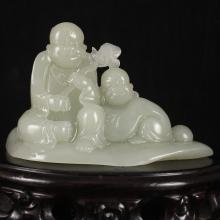 Hand Carved Chinese Natural Hetian Jade Statue - Fortune Kids