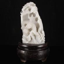 Hand-carved Chinese Natural Hetian Jade Statue - Old Man & Pine Tree