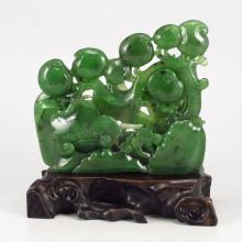 Hand Carved Chinese Natural Green Hetian Jade Peach Statue