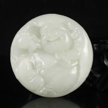 Superb Hand Carved Chinese Natural Hetian Jade Laughing Buddha Pendant