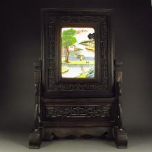 Hand Carved Chinese Natural Black Sanders Wood Inlay Famille Rose Porcelain Screen