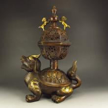 Superb Design Chinese Bronze  Incense Burner Carved Dragon & Fortune Beast