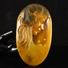 Hand Carved Chinese Natural Jade Pendant - Beautiful Girl
