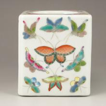 Hand-painted Chinese Famille Rose Porcelain Brush Pot Marked