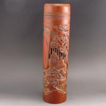 Vintage Hollow-out Carved Chinese Bamboo Incense Tube w Music Men