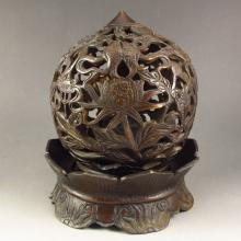 Chinese Bronze Goldfish Lotus Home Incense Burner
