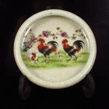 Hand-painted Chinese Famille Rose Porcelain Brush Washer w Three Lucky Rooster