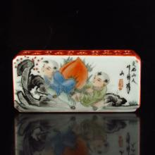 Hand-painted Chinese Famille Rose Porcelain Paperweight w Fortune Kid