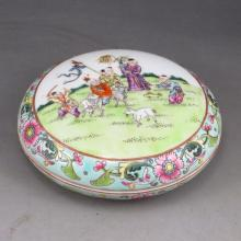 Hand-painted  Chinese Famille Rose Porcelain Inkpad Box