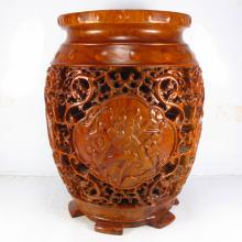 Hollow Out Carved Chinese Natural Huali Wood Stool w Plum  , Orchid , Bamboo , Chrysanthemum