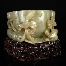 Well Carved Chinese Qing Dy Natural Hetian Jade Lotus Brush Washer w Goldfish