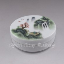 Hand-painted Chinese Su Color Porcelain Jewelry Box w Mark