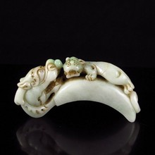 19Th C Vintage Hand-carved Jadeite / Jade Belt Hook w Dragon