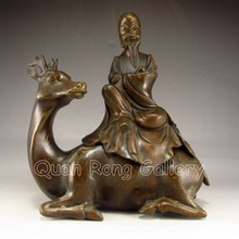Chinese Bronze Incense Burner Statue - Longevity Old Man & Deer