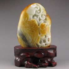 Hand-carved Chinese Natural Hetian Jade Statue - Eagle & Bear