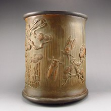 Chinese Hand Carved Bamboo and Sanders Wood Brush Pot - Pine Tree & Cicada
