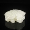 Hand-carved Chinese Natural White Hetian Jade Statue - Ao Dragon Turtle